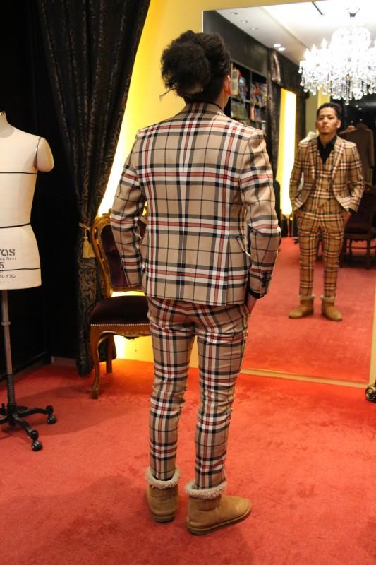 タータン・チェックのオーダースーツ画像